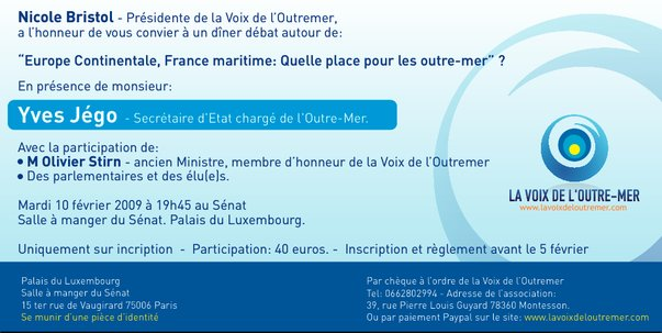 Voices From France Overseas - Invitation - Diner French Senate - Yves Jego